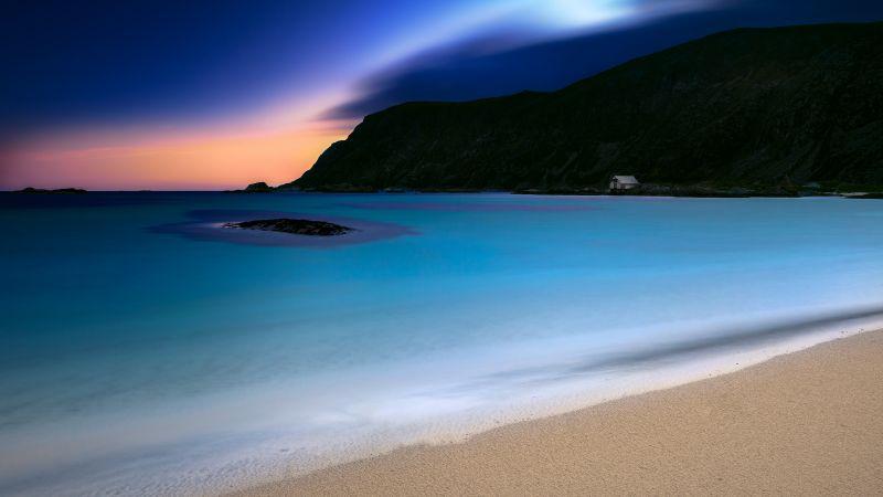 Grotlesanden Beach, Norway, Coastal, Sunset, Ocean blue, Seascape, Night time, Dusk, Landscape, Long exposure, 5K, Wallpaper