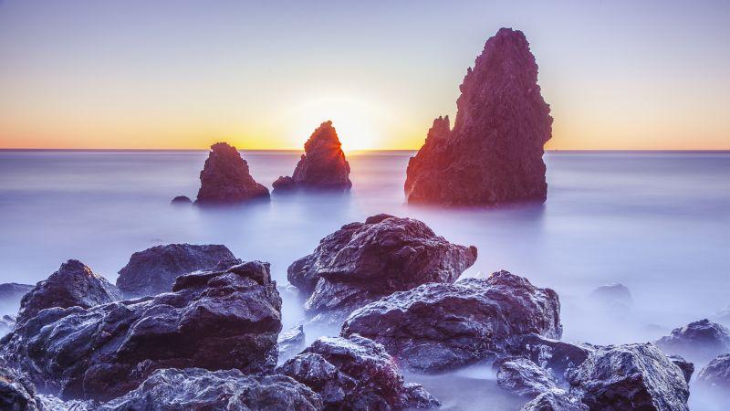 Rodeo Beach, Marin Headlands, California, Sunset, Rocky coast, Long exposure, Seascape, Ocean, Horizon, Wallpaper