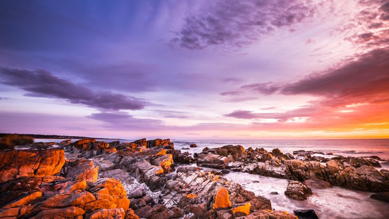 Bay of Fires, Tasmania, Australia, Sunrise, Rocky coast, Seascape, Ocean, Clouds, Purple sky, Wallpaper