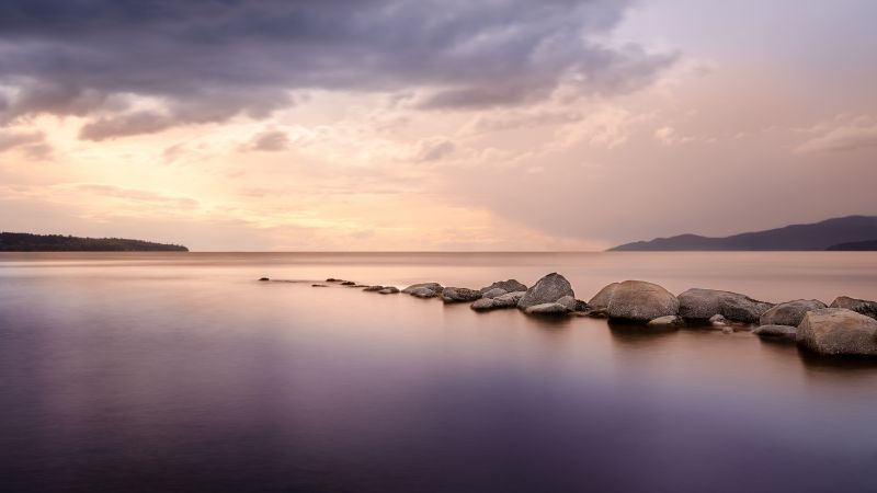 Second Beach, Vancouver, Seascape, Rocks, Long exposure, Body of Water, Cloudy Sky, Horizon, Sunset, Wallpaper