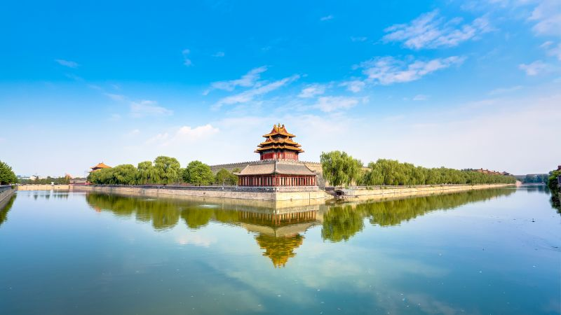 Forbidden City, Beijing, China, Museum, Imperial Palace, Ming Dynasty, UNESCO World Heritage Site, Body of Water, Reflection, Blue Sky, Clear sky, Wallpaper