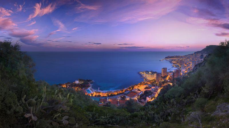 Monaco City, Cityscape, City lights, Purple sky, Sunset, Long exposure, Horizon, Clouds, Wallpaper