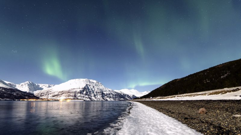 Lyngenfjord, Norway, Aurora Borealis, Northern Lights, Glacier mountains, Lake, Reflection, Night sky, Stars, Winter, Snow covered, Landscape, Scenery, Wallpaper