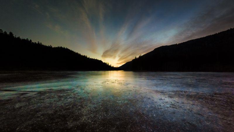 Rose Valley Reservoir, British Columbia, Canada, Sunset, Frozen, Silhouette, Landscape, Dusk, 5K, Wallpaper