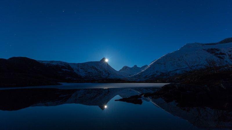 Moonrise, Blue Sky, Mountains, Snow covered, Lake, Landscape, Reflection, Night time, Twilight, Long exposure, 5K, Wallpaper