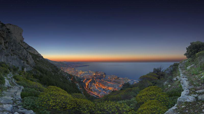 Monaco City, Sunrise, Horizon, Cityscape, City lights, Green Trees, Cliffs, Aerial view, Landscape, Wallpaper