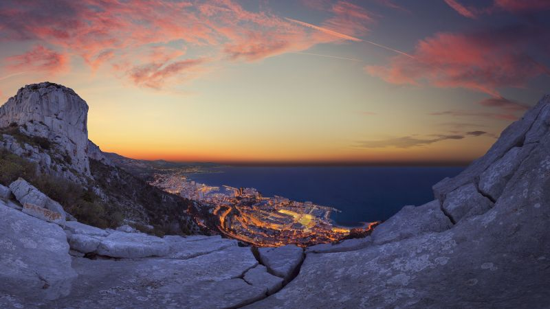 Monaco City, Sunrise, Horizon, Rocks, Clear Sky, Clouds, Dusk, Cityscape, City lights, Long Exposure, Cliffs, Landscape, Wallpaper