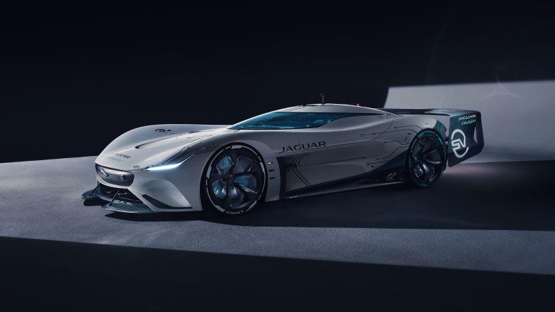 Jaguar Vision Gran Turismo SV, Hypercars, Concept cars, Black background, 2021, 5K, Wallpaper