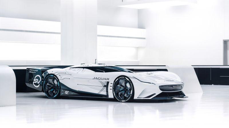 Jaguar Vision Gran Turismo SV, Hypercars, Concept cars, 2021, 5K, White background, Wallpaper