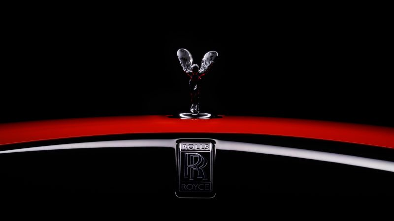 Rolls-Royce Dawn Black Badge, Spirit of Ecstasy, 2021, Black background, AMOLED, 5K, 8K, Wallpaper