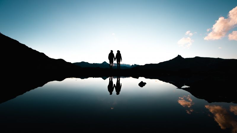 Couple, Silhouette, Together, Holding hands, Romantic, Mountains, Lake, Reflection, Dusk, Evening, Switzerland, 5K, Wallpaper