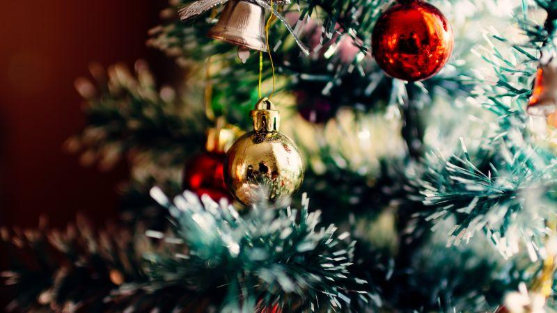 Christmas decoration, Christmas balls, Christmas tree, 5K, Wallpaper