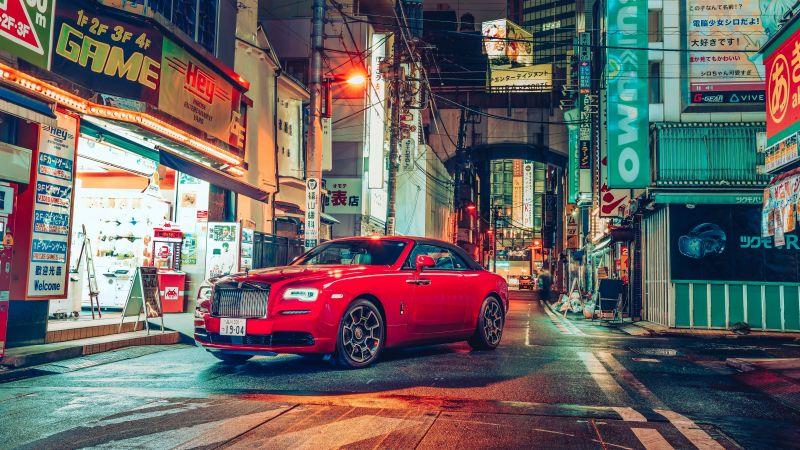 Rolls-Royce Dawn Black Badge, 2021, Tokyo, Cityscape, Night, Streets, Lights, 5K, 8K, Wallpaper
