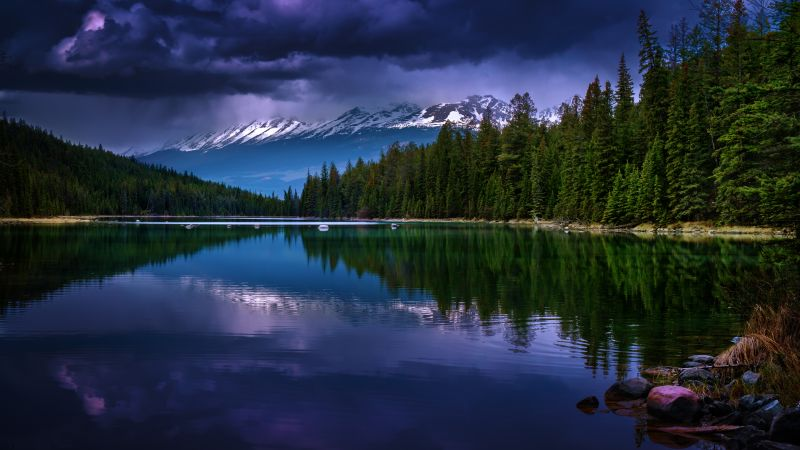 Valley of the five lakes, First Lake, Canada, Jasper National Park, Landscape, Reflection, Green Trees, Dark clouds, Stormy, Glacier mountains, Snow covered, Wallpaper