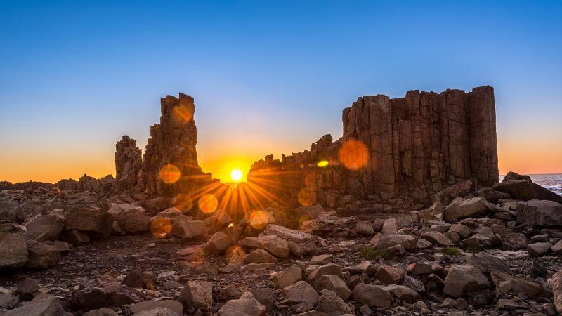 Bombo Headland Quarry, Sunrise, Australia, Geological Site, Blue Sky, Sun rays, Tourist attraction, Clear sky, Rocks, 5K, Wallpaper