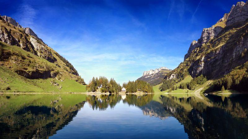 Seealpsee lake, Alpstein, Switzerland, Landscape, Reflection, Body of Water, Blue Sky, Mountains, Scenery, Lakeside, Wallpaper