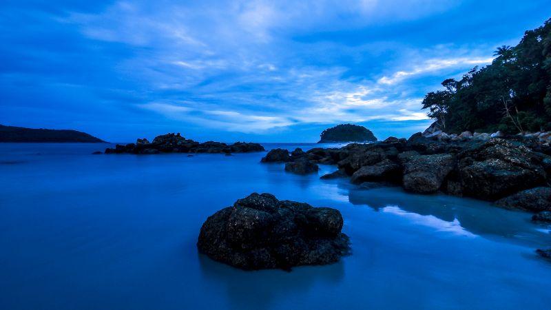 Kata Beach, Phuket, Thailand, Rocky coast, Seascape, Long exposure, Blue Sky, Twilight, Ocean, Dusk, Wallpaper