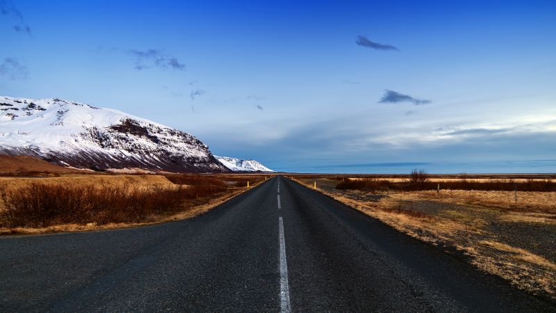 Endless Road, Iceland, Landscape, Glacier mountains, Snow covered, Blue Sky, Horizon, Scenic, Wallpaper