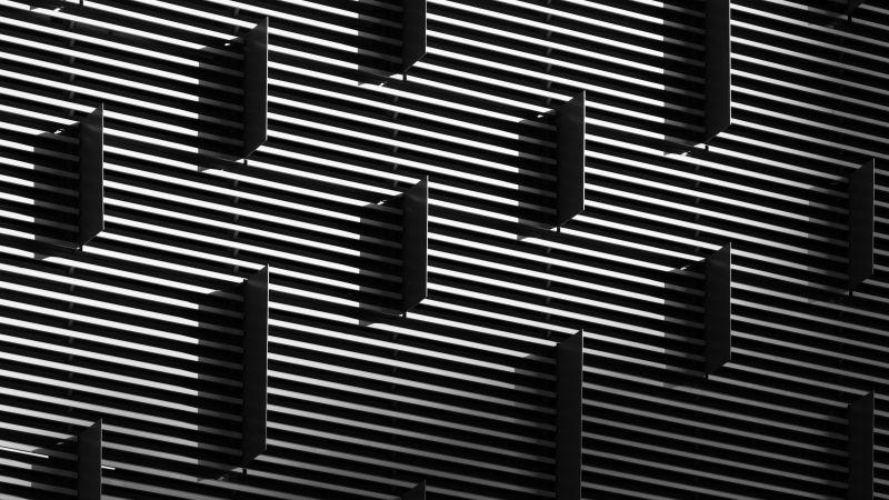 Gray Building, Grayscale, Pattern, Lines, Texture, Geometric, Monochrome, Stripes, 5K, Wallpaper