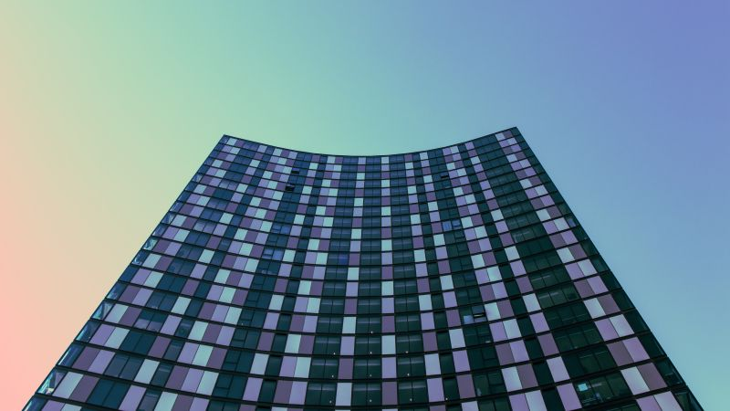 High rise building, Low Angle Photography, Gradient background, Looking up at Sky, Office building, Pattern, Skyscraper, 5K, Wallpaper