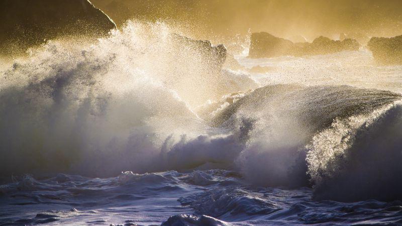 Huge Waves, Sunset, Ocean, Rocky coast, Landscape, Water splash, Wallpaper