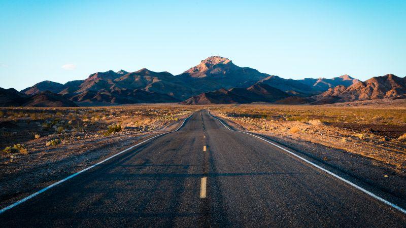 Endless Road, Mountain range, Landscape, Death Valley, Blue Sky, Calm, Daytime, Wallpaper
