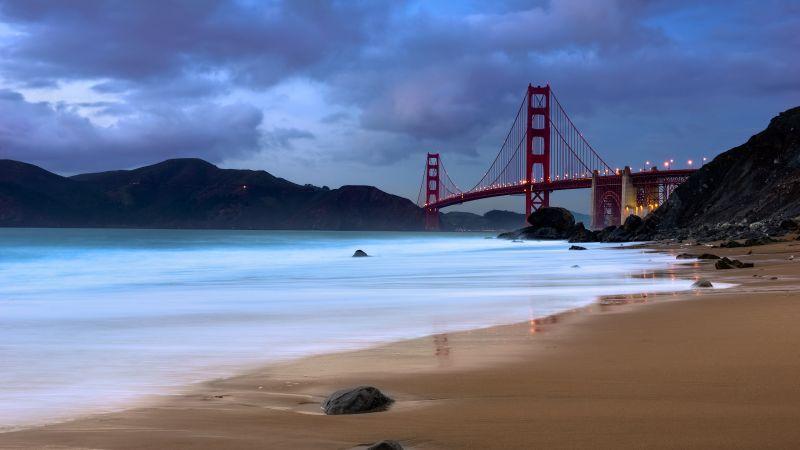 Golden Gate Bridge, Evening, Coastline, San Francisco, Baker Beach, California, Long exposure, Metal structure, Cloudy, Landmark, Wallpaper