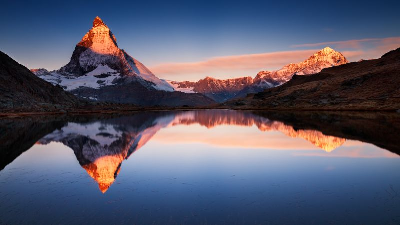 Riffelsee Lake, Switzerland, Glacier mountains, Snow covered, Reflection, Alpenglow, Sunset, Clear sky, Landscape, Scenery, Wallpaper