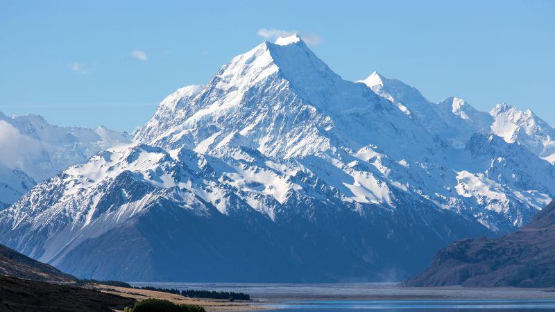 Mount Cook, New Zealand, Aoraki National Park, Mountain Peak, Snow covered, Lake Pukaki, Landscape, Scenery, 5K, Wallpaper