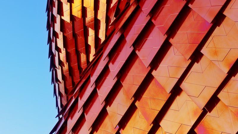 Vanke Pavilion, Red Tiles, Modern architecture, Pattern, Texture, Shapes, Geometrical, Blue Sky, 3D, 5K, Wallpaper