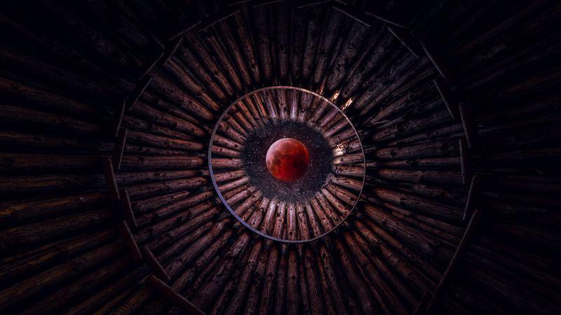 Blood Moon, Looking up at Sky, Stars, Circular, Pattern, Wood, Photoshop, 5K, Wallpaper