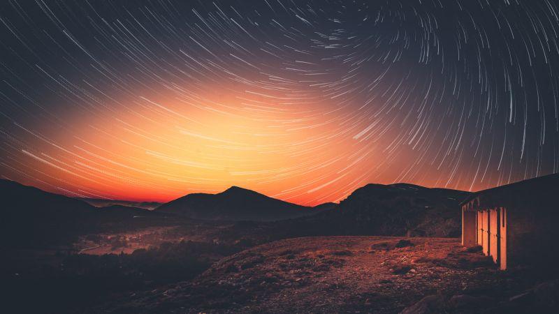 Sunset, Star trail, Dawn, Landscape, Dusk, Golden hour, 5K, Wallpaper