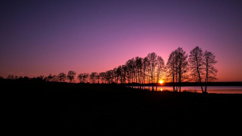 Rusutjärvi, Finland, Landscape, Sunset, Purple sky, Silhouette, Trees, Lake, Scenery, Dusk, Wallpaper