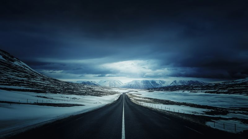 Iceland's Ring Road, Endless Road, Landscape, Snow covered, Winter, Glacier mountains, Calm, Dark clouds, Vanishing point, Wallpaper