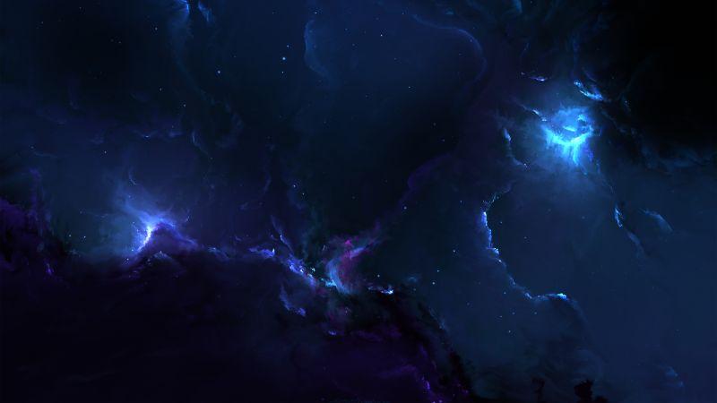 Nebulae, Cosmic, Stars, Dark blue, Dark background, Digital illustration, Astronomy, 5K, Wallpaper