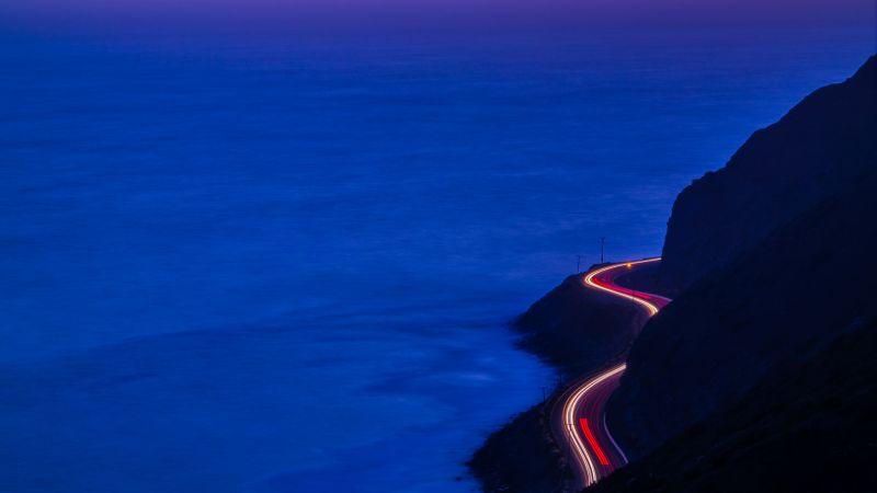 Pacific Coast Highway, California, Car lights, Long exposure, Seascape, Dusk, Sunset, Blue Ocean, Purple Sky, Mountain range, Silhouette, 5K, Wallpaper