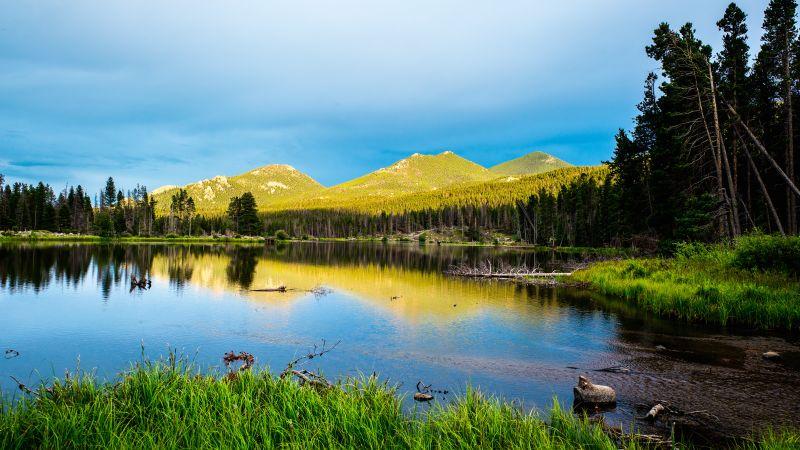 Sprague Lake, Rocky Mountain National Park, Colorado, Landscape, Green Trees, Blue Sky, Beautiful, Scenery, Reflection, 5K, Wallpaper