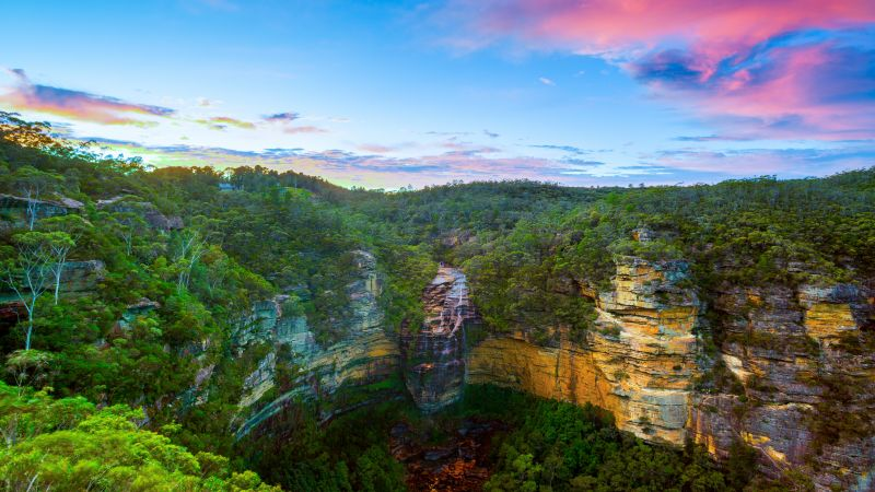 Wentworth Falls, Blue mountains, Australia, National Park, Long exposure, Sunset, Cliffs, Forest, Green Trees, Greenery, HDR, Landscape, Clear sky, 5K, Wallpaper