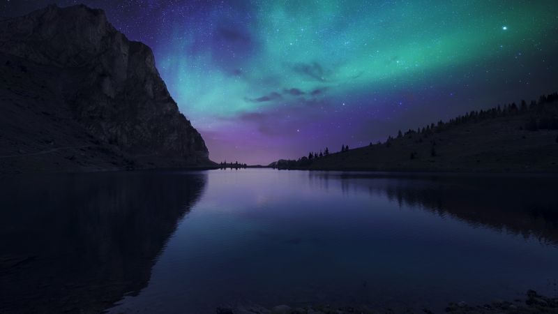 Bannalpsee, Switzerland, Aurora Borealis, Starry sky, Landscape, Mountains, Silhouette, Astronomy, Digital composition, Body of Water, Reservoir, Reflection, Wallpaper