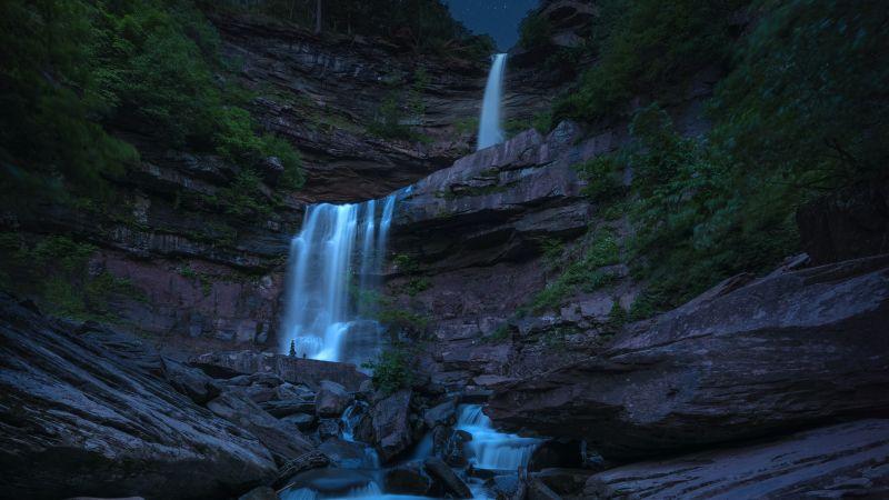 Kaaterskill Falls, Waterfall, Night, New York, USA, Wallpaper