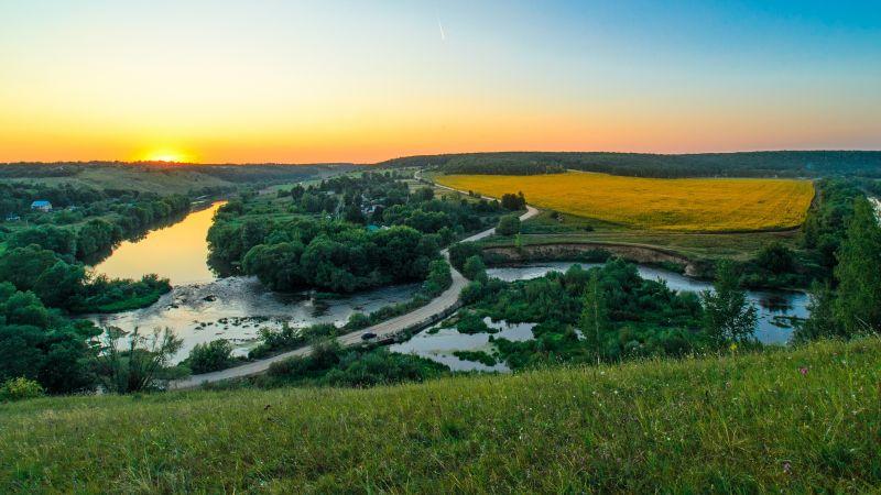 River, Countryside, Landscape, Sunset Orange, Horizon, Green Trees, Grass, Farmland, Wallpaper