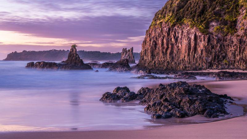 Cathedral Rocks, Australia, Volcanic Sea Stack, Rock formations, Rocky coast, Sunrise, Cliff, Landscape, Tourist attraction, Purple sky, Long exposure, 5K, Wallpaper