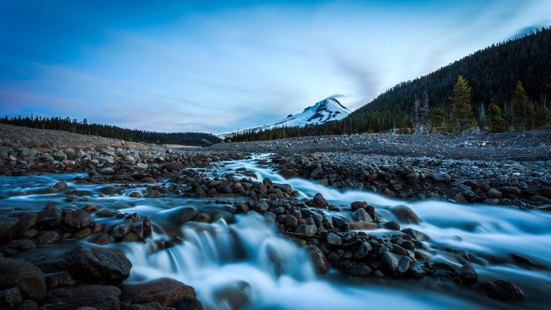 Mount Hood, Oregon, Landscape, Early Morning, Rocks, Water Stream, Long exposure, Green Trees, Blue Sky, Snow covered, Glacier mountains, 5K, Wallpaper