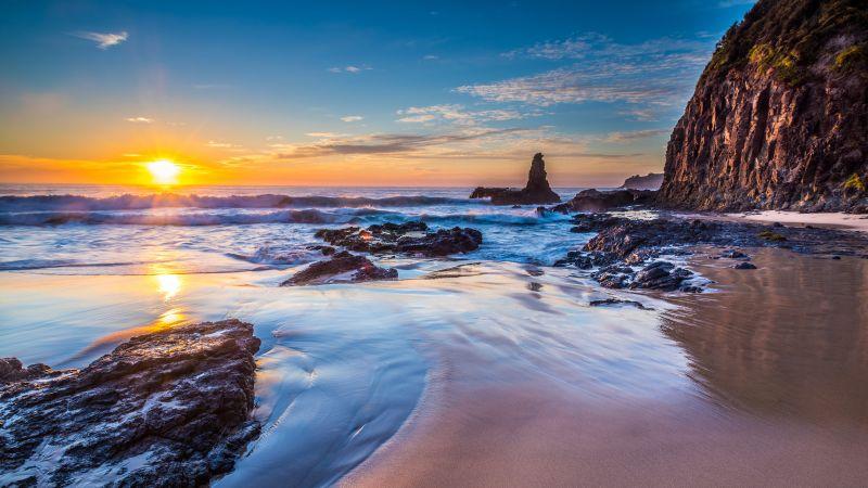 Jones Beach, Kiama Downs, Australia, Sunrise, Seascape, Rocky coast, Ocean, Clear sky, Horizon, Landscape, Waves, Reflection, 5K, Wallpaper