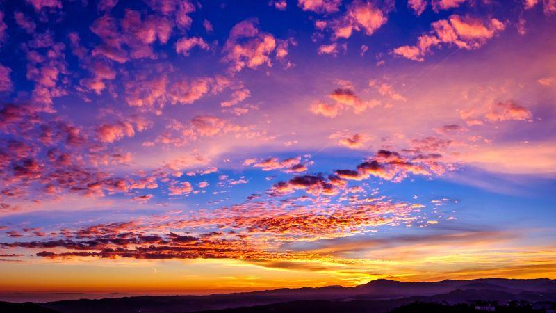 Golden hour, Sunset, Clouds, Landscape, 5K, Wallpaper