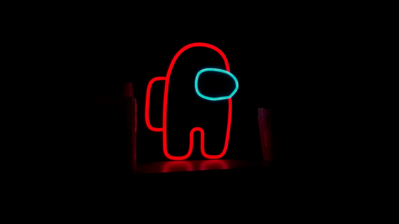 Among Us, Neon, iOS Games, Android games, PC Games, Black background, Wallpaper