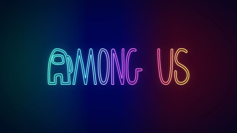 Among Us, Neon, iOS Games, Android Games, PC Games, Gradient background, Wallpaper