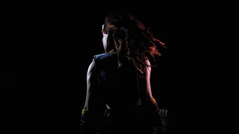 Aloy, Horizon Zero Dawn, AMOLED, Black background, PlayStation 4, Screenshot, 5K, Wallpaper
