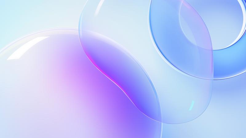 Huawei Nova 8 Pro, Bubble, Circle, White background, Purple, Blue, Stock, Aesthetic, Wallpaper