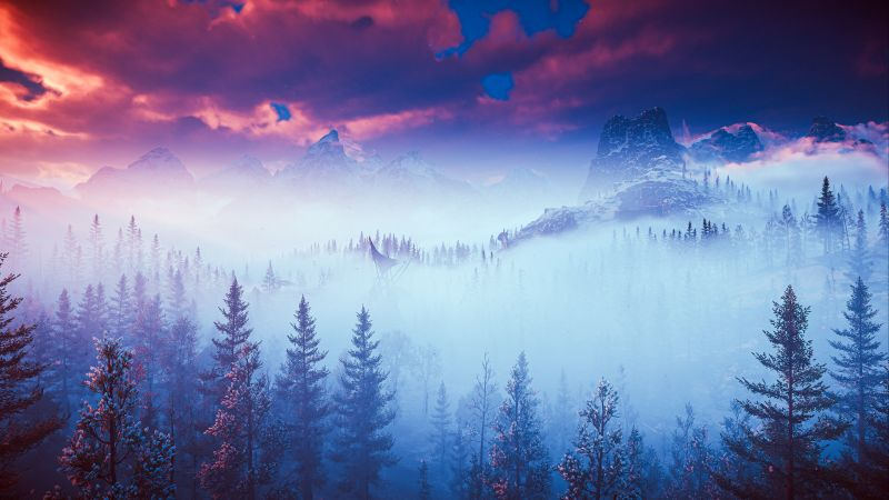 Horizon Zero Dawn, Scenery, Foggy, PlayStation 4, Screenshot, 5K, Wallpaper